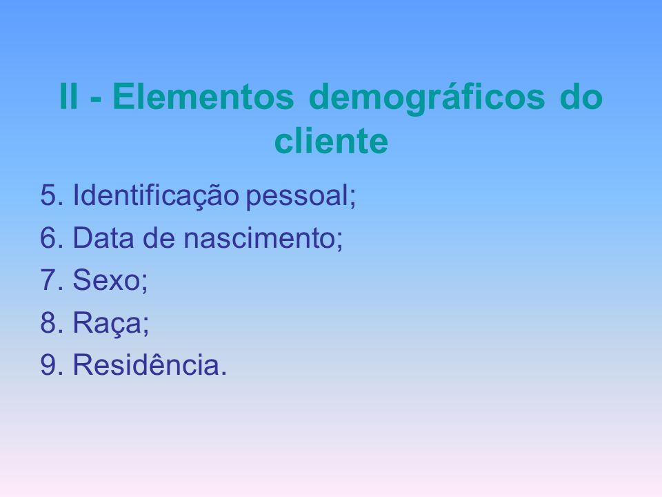 II - Elementos demográficos do cliente