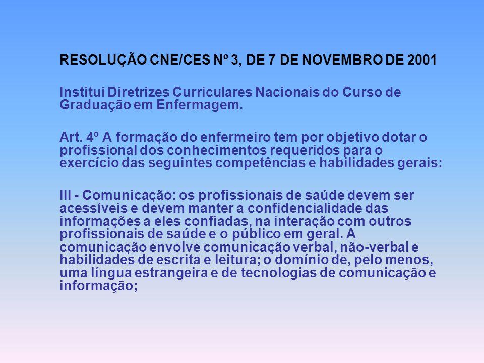RESOLUÇÃO CNE/CES Nº 3, DE 7 DE NOVEMBRO DE 2001