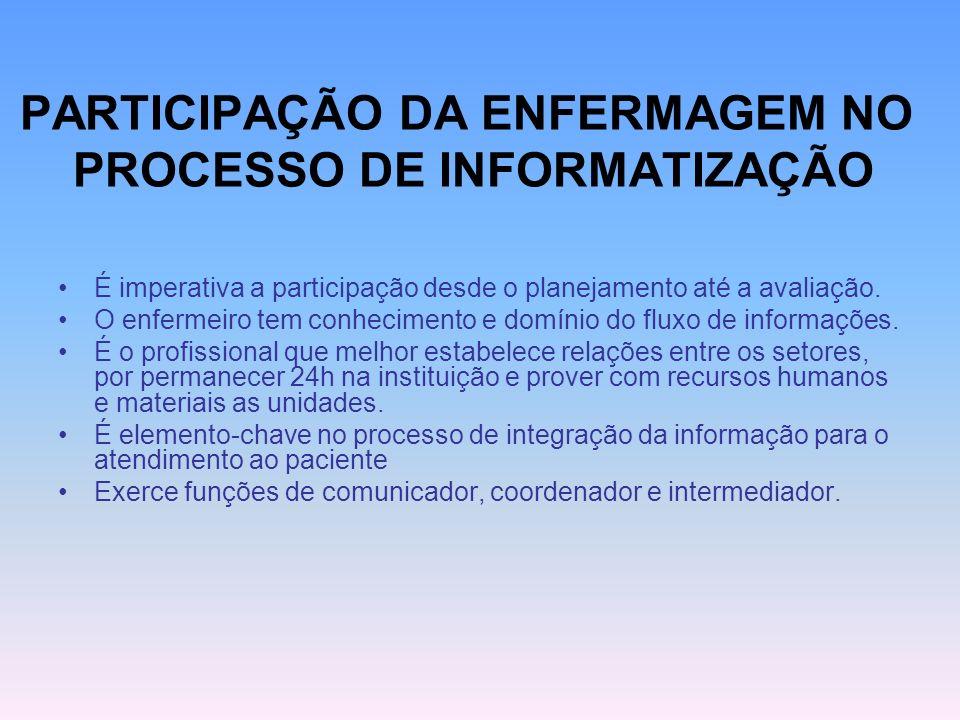PARTICIPAÇÃO DA ENFERMAGEM NO PROCESSO DE INFORMATIZAÇÃO