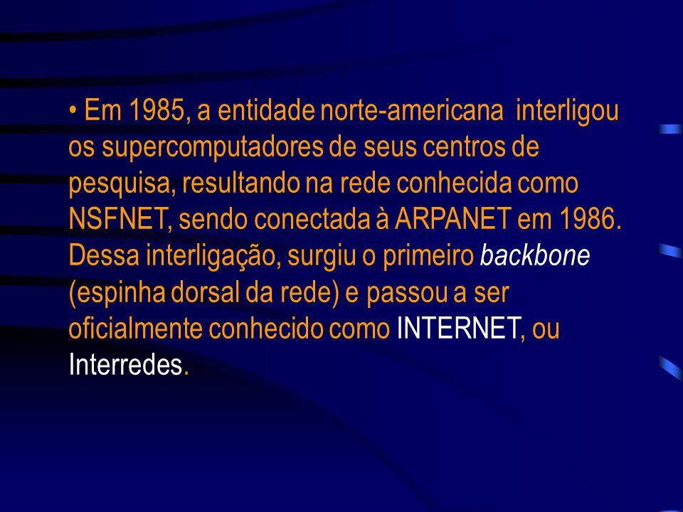 Em 1985, a entidade norte-americana interligou os supercomputadores de seus centros de pesquisa, resultando na rede conhecida como NSFNET, sendo conectada à ARPANET em 1986.