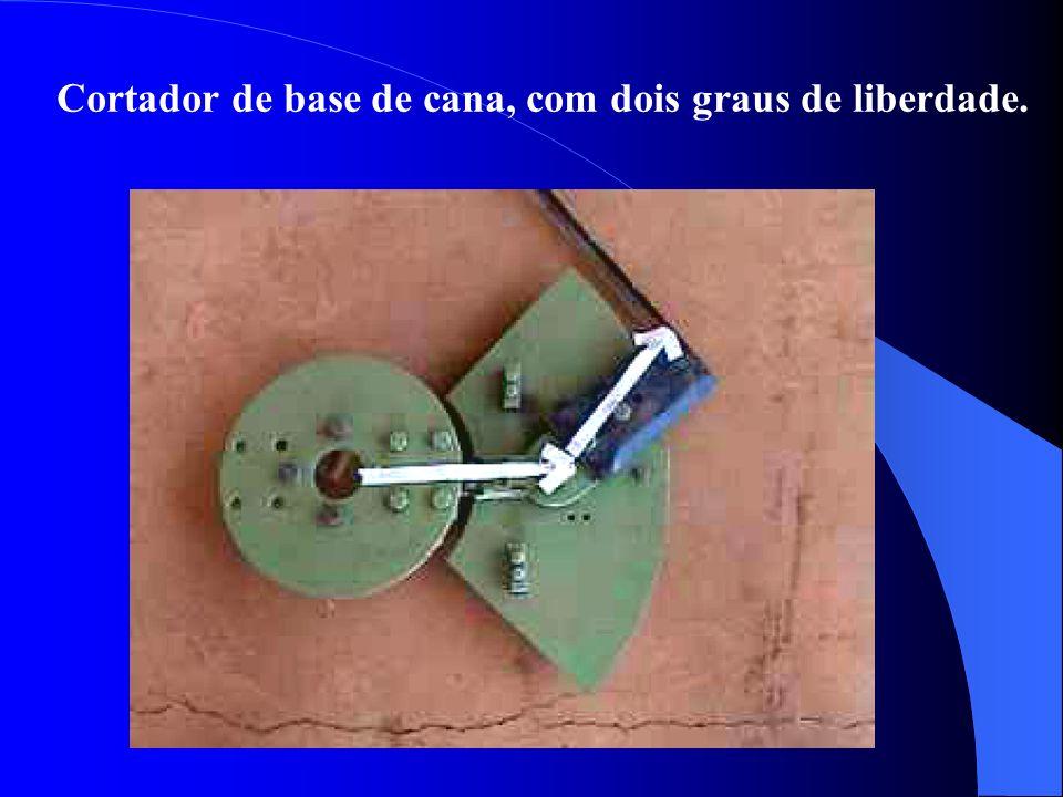 Cortador de base de cana, com dois graus de liberdade.