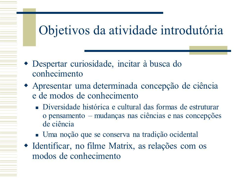 Objetivos da atividade introdutória