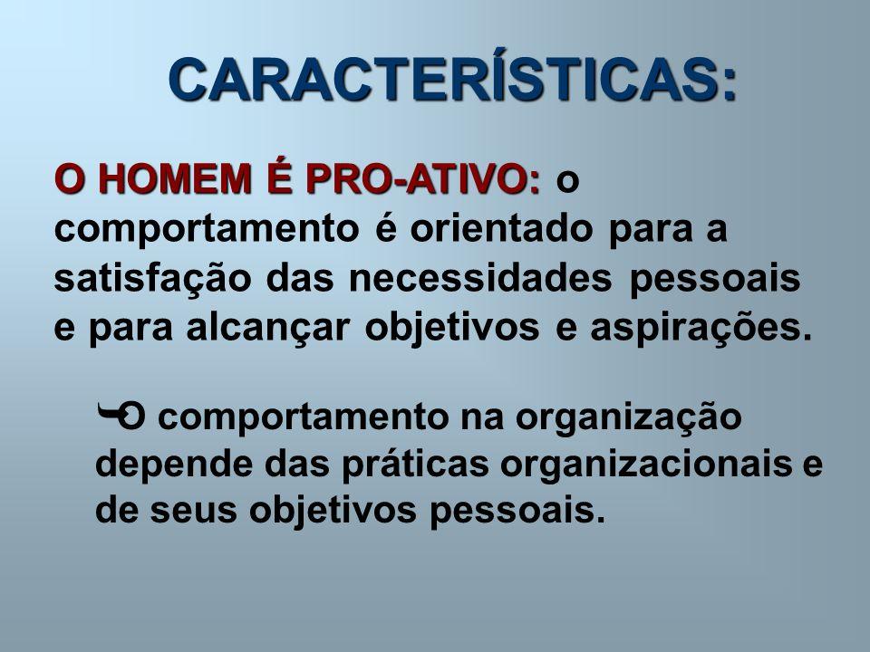 CARACTERÍSTICAS: O HOMEM É PRO-ATIVO: o comportamento é orientado para a satisfação das necessidades pessoais e para alcançar objetivos e aspirações.