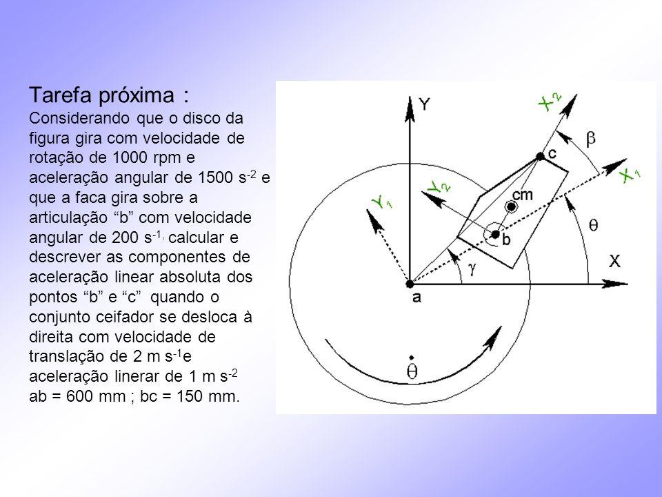 Tarefa próxima : Considerando que o disco da figura gira com velocidade de rotação de 1000 rpm e aceleração angular de 1500 s-2 e que a faca gira sobre a articulação b com velocidade angular de 200 s-1, calcular e descrever as componentes de aceleração linear absoluta dos pontos b e c quando o conjunto ceifador se desloca à direita com velocidade de translação de 2 m s-1e aceleração linerar de 1 m s-2 ab = 600 mm ; bc = 150 mm.