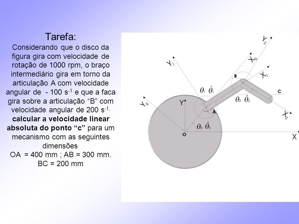 Tarefa: Considerando que o disco da figura gira com velocidade de rotação de 1000 rpm, o braço intermediário gira em torno da articulação A com velocidade angular de - 100 s-1 e que a faca gira sobre a articulação B com velocidade angular de 200 s-1, calcular a velocidade linear absoluta do ponto c para um mecanismo com as seguintes dimensões.
