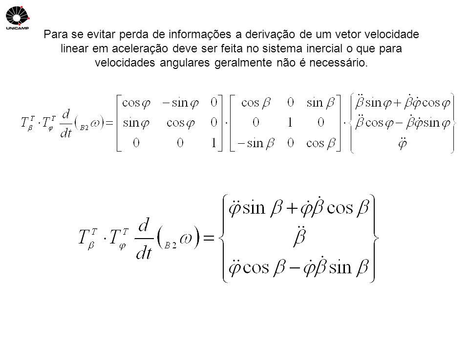 Para se evitar perda de informações a derivação de um vetor velocidade linear em aceleração deve ser feita no sistema inercial o que para velocidades angulares geralmente não é necessário.