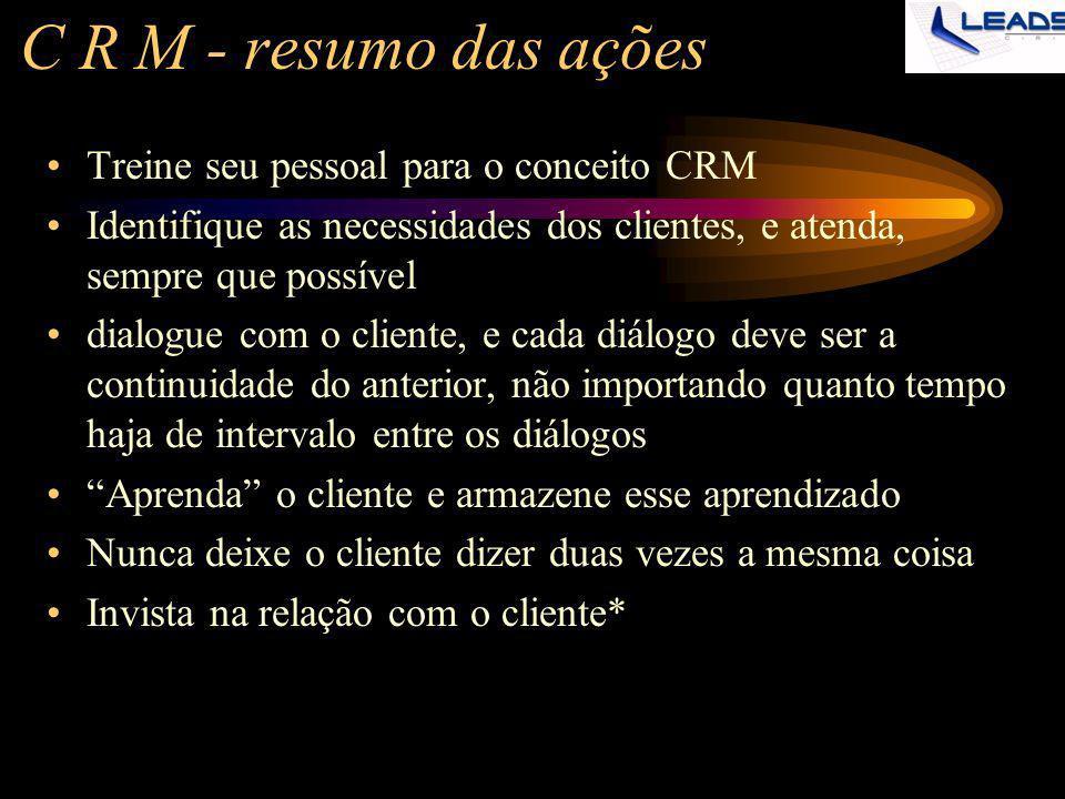 C R M - resumo das ações Treine seu pessoal para o conceito CRM