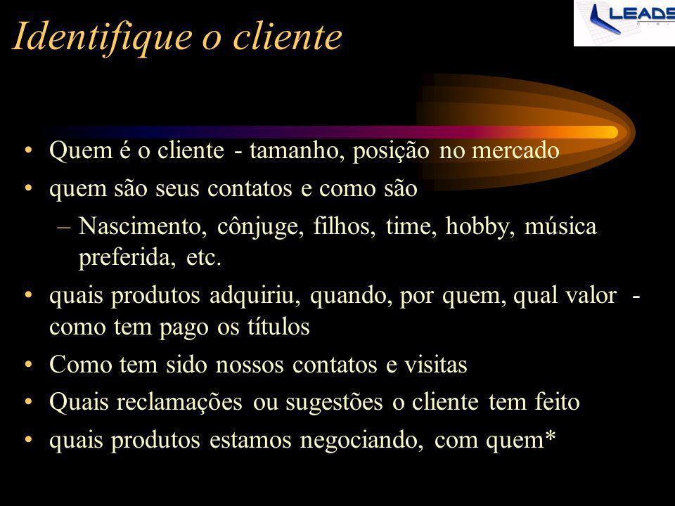 Identifique o cliente Quem é o cliente - tamanho, posição no mercado