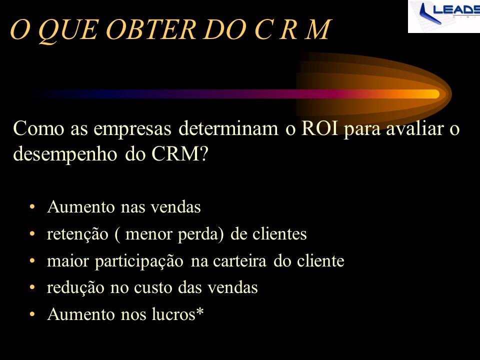 O QUE OBTER DO C R M Como as empresas determinam o ROI para avaliar o desempenho do CRM Aumento nas vendas.