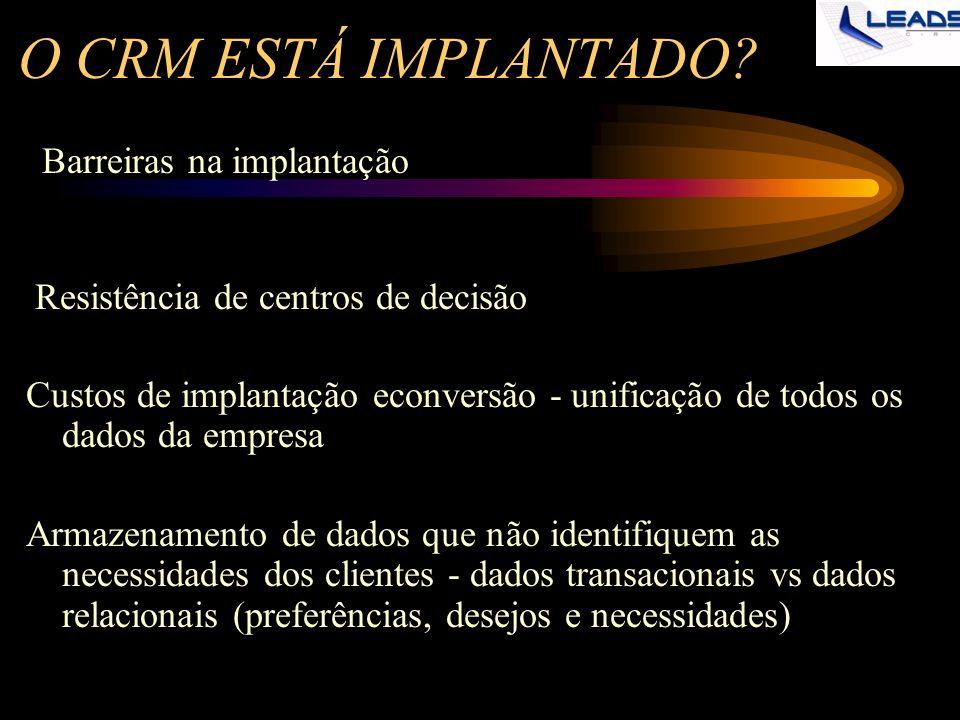 O CRM ESTÁ IMPLANTADO Barreiras na implantação