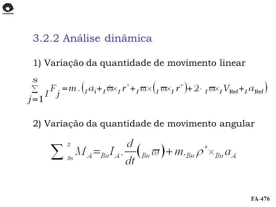 3.2.2 Análise dinâmica 1) Variação da quantidade de movimento linear
