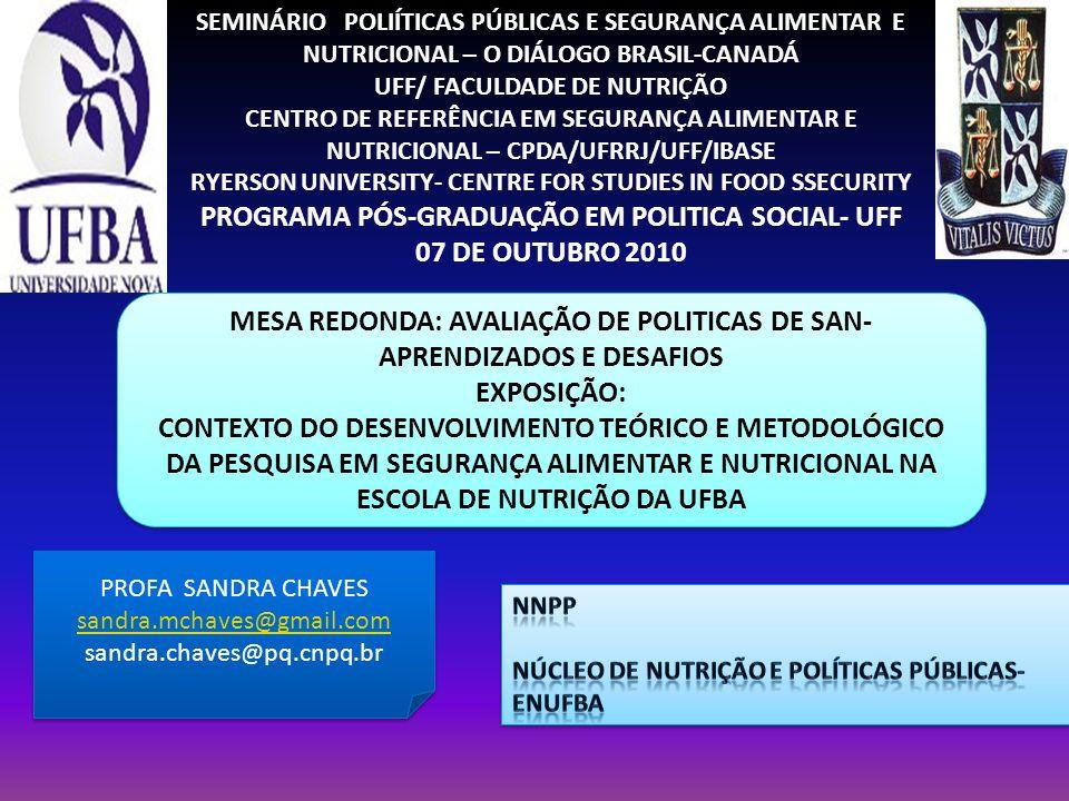 PROGRAMA PÓS-GRADUAÇÃO EM POLITICA SOCIAL- UFF 07 DE OUTUBRO 2010