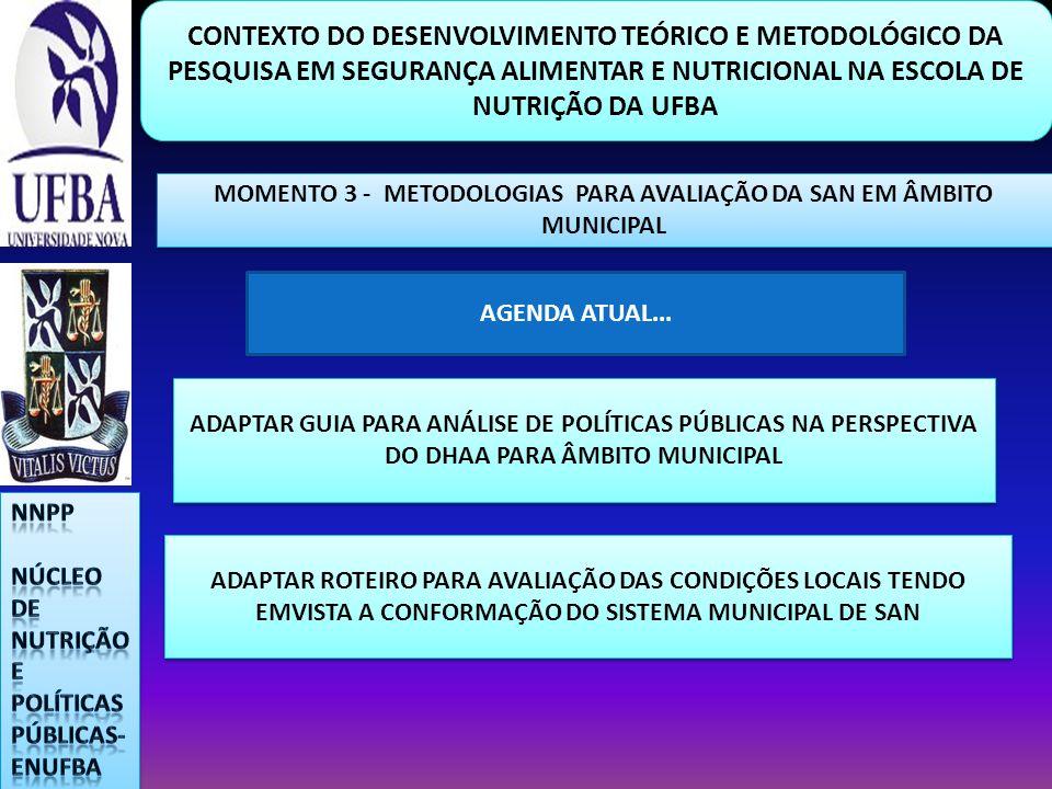 MOMENTO 3 - METODOLOGIAS PARA AVALIAÇÃO DA SAN EM ÂMBITO MUNICIPAL