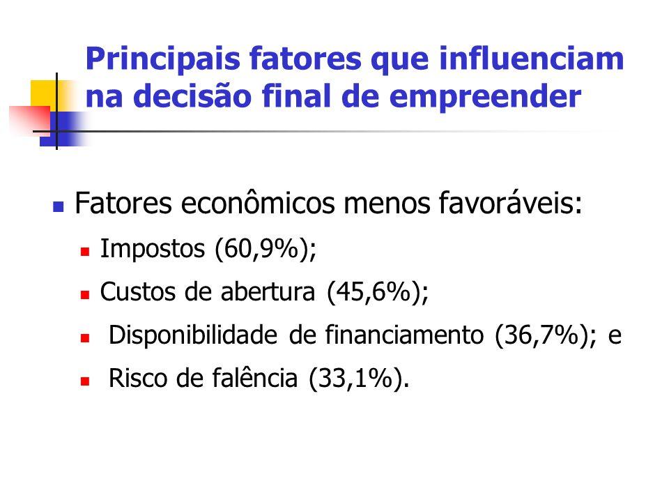Principais fatores que influenciam na decisão final de empreender