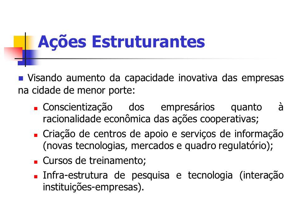 Ações Estruturantes Visando aumento da capacidade inovativa das empresas na cidade de menor porte: