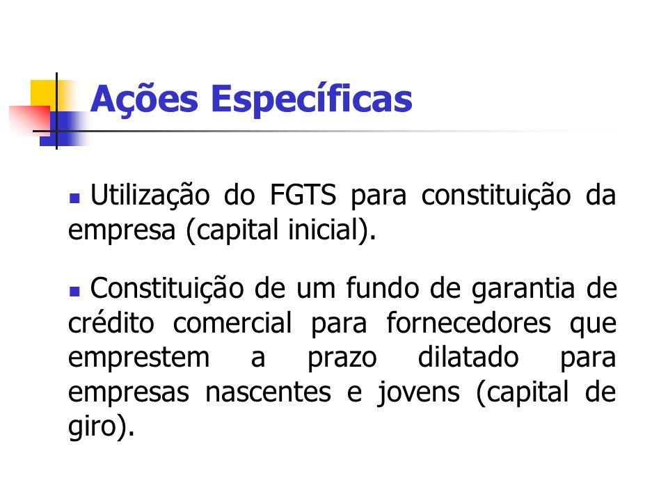Ações Específicas Utilização do FGTS para constituição da empresa (capital inicial).