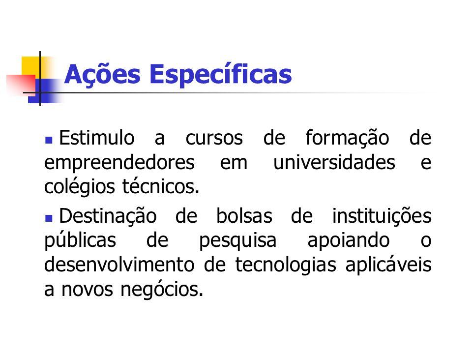 Ações Específicas Estimulo a cursos de formação de empreendedores em universidades e colégios técnicos.