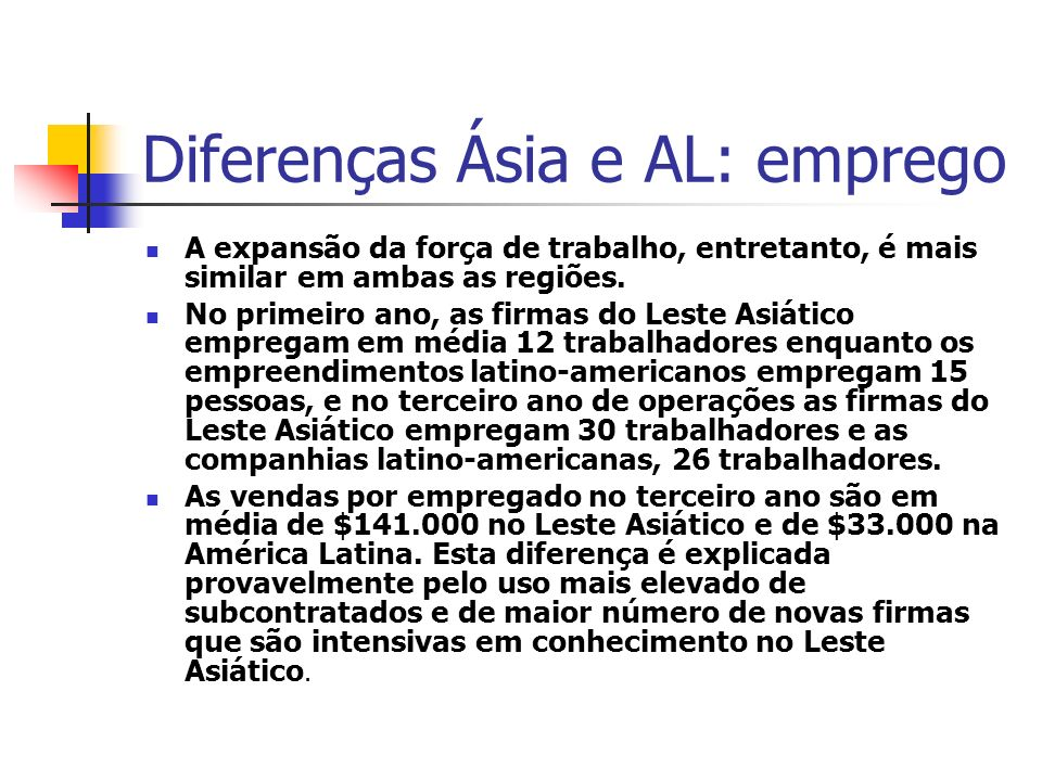 Diferenças Ásia e AL: emprego
