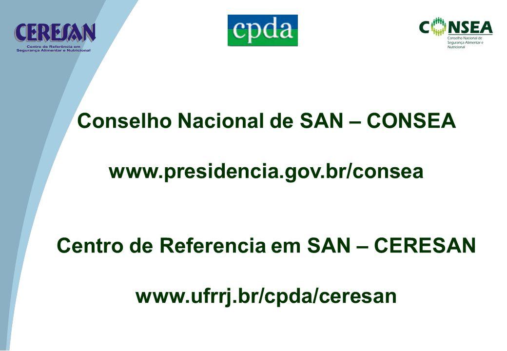 Conselho Nacional de SAN – CONSEA www.presidencia.gov.br/consea