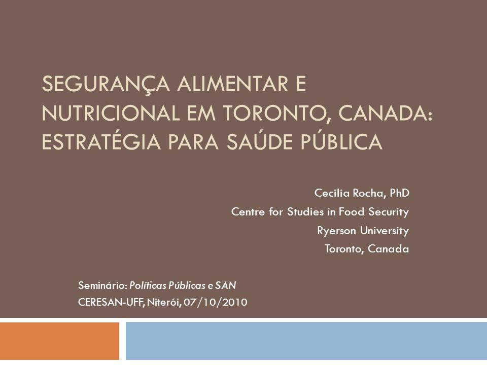 Segurança Alimentar e Nutricional em Toronto, Canada: Estratégia para Saúde Pública