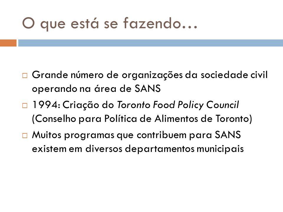 O que está se fazendo… Grande número de organizações da sociedade civil operando na área de SANS.