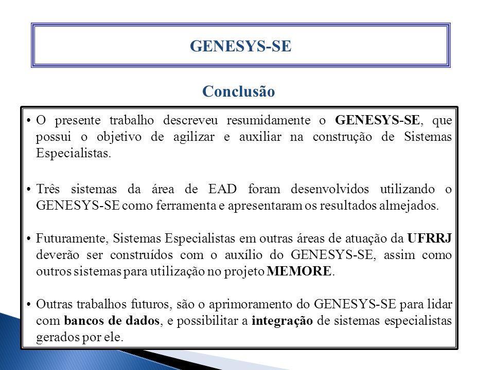 GENESYS-SE Conclusão.