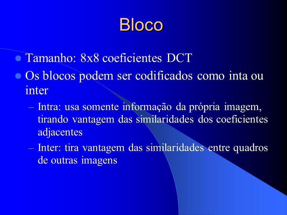 Bloco Tamanho: 8x8 coeficientes DCT