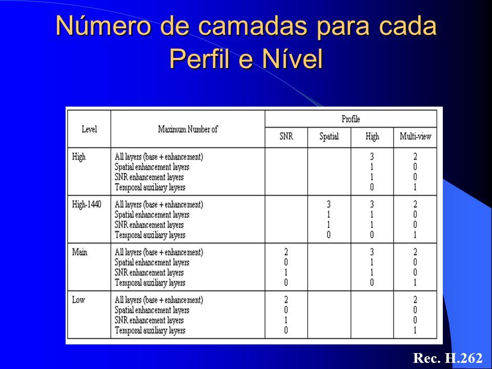 Número de camadas para cada Perfil e Nível