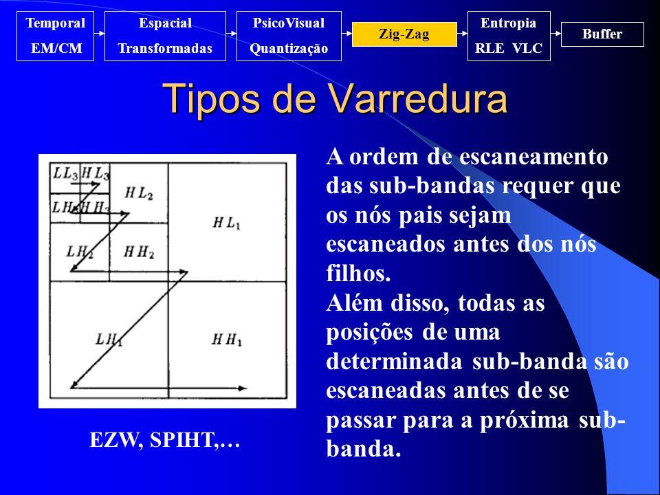 Temporal EM/CM. Espacial. Transformadas. PsicoVisual. Quantização. Entropia. RLE VLC. Zig-Zag.