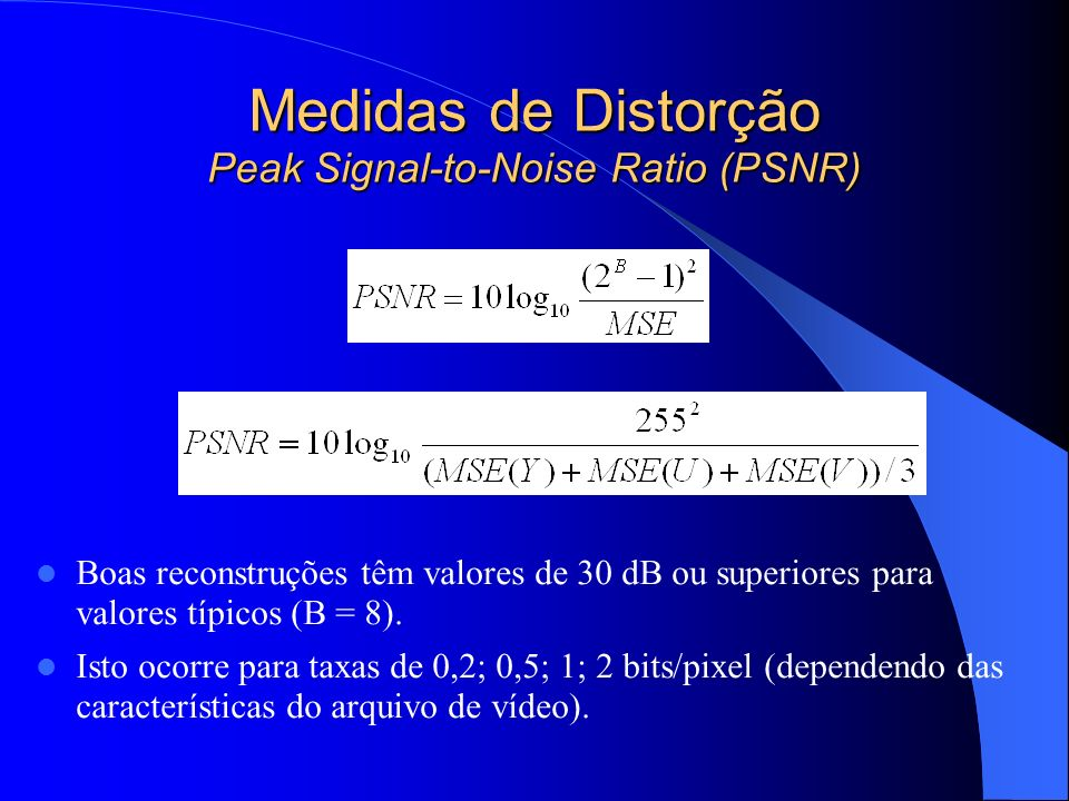 Medidas de Distorção Peak Signal-to-Noise Ratio (PSNR)