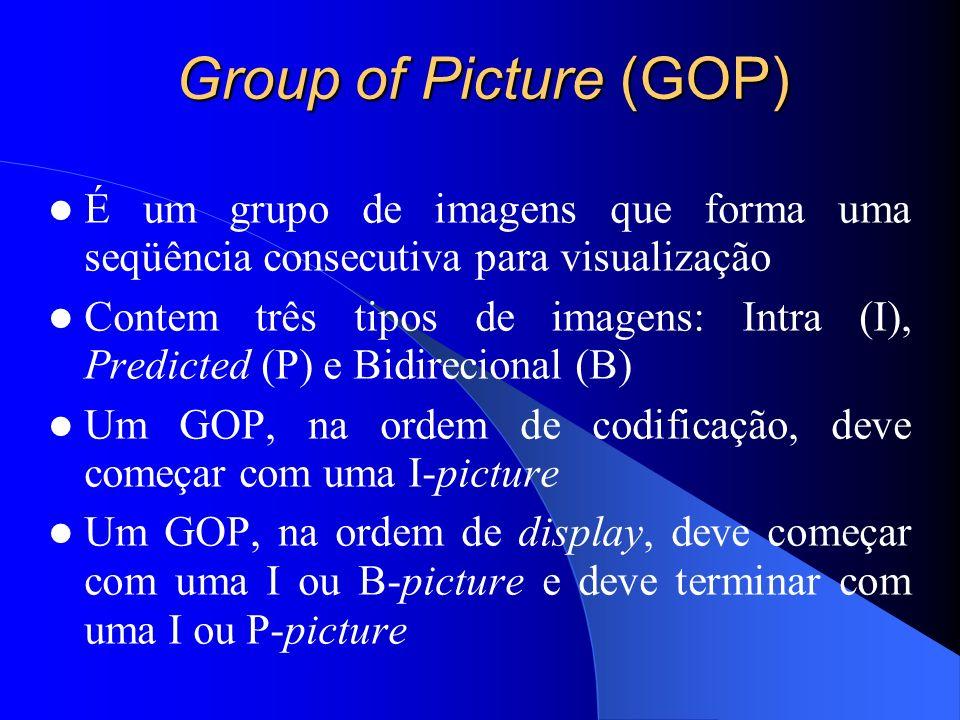 Group of Picture (GOP) É um grupo de imagens que forma uma seqüência consecutiva para visualização.