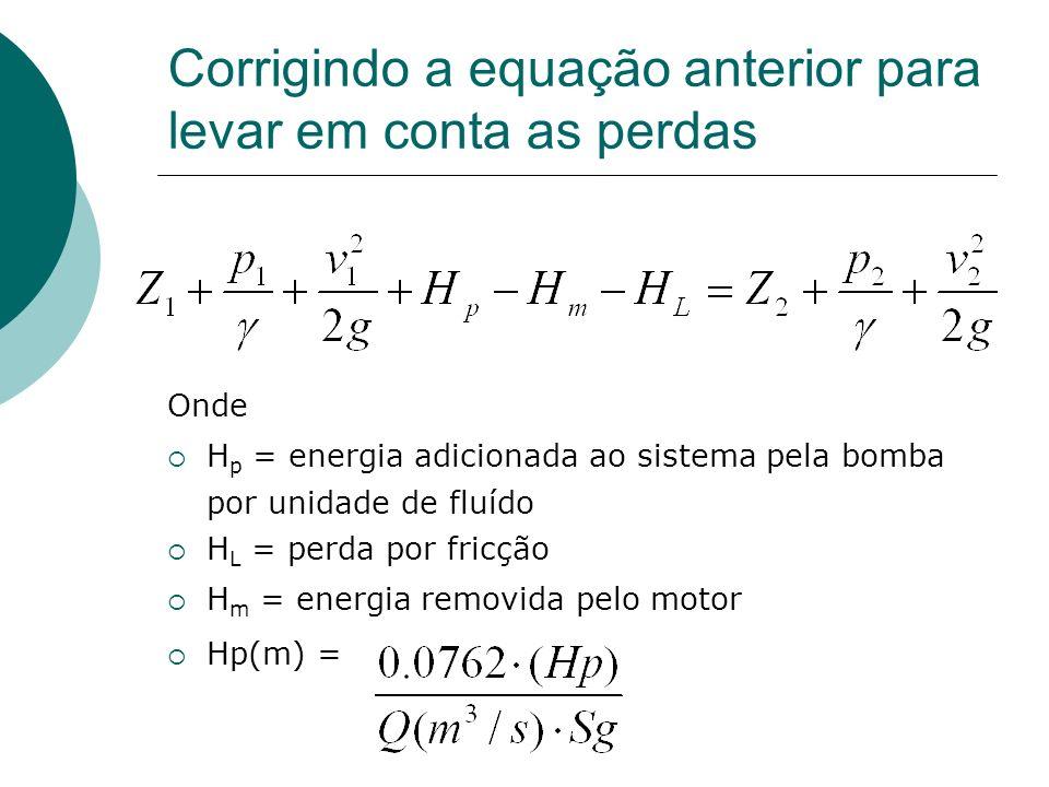 Corrigindo a equação anterior para levar em conta as perdas
