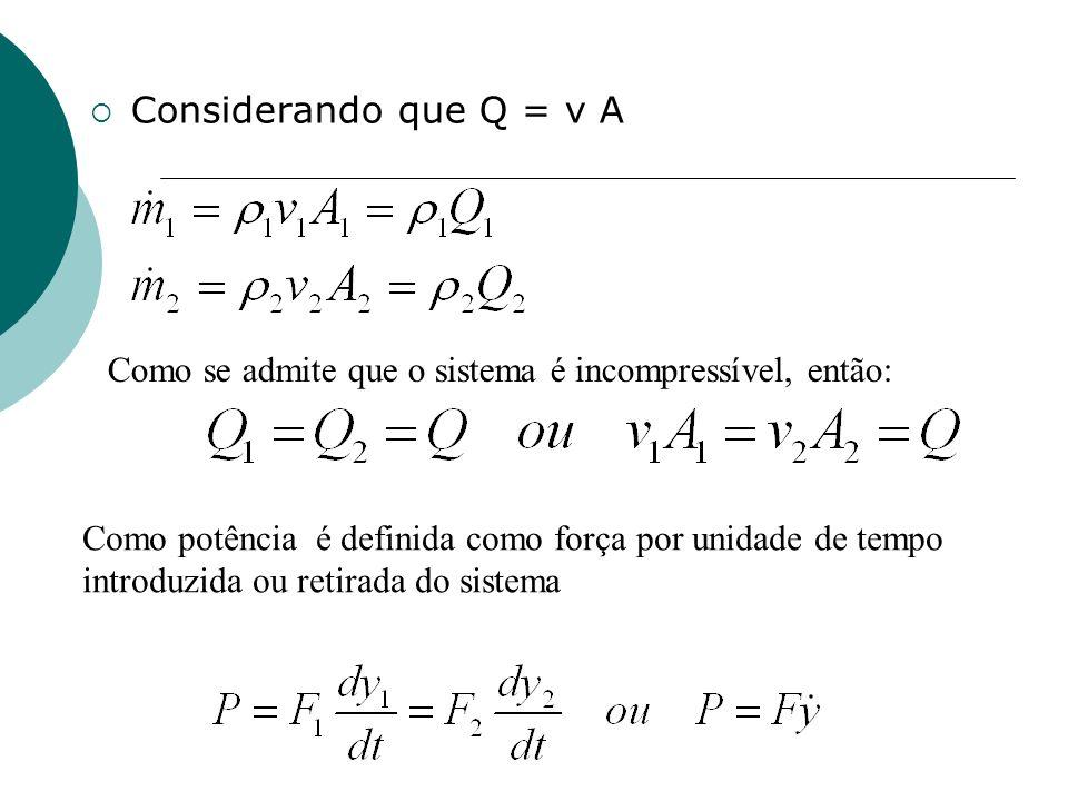 Considerando que Q = v A Como se admite que o sistema é incompressível, então: