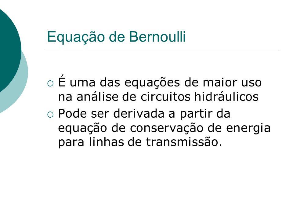 Equação de Bernoulli É uma das equações de maior uso na análise de circuitos hidráulicos.