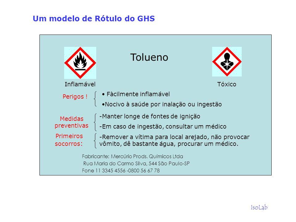 Tolueno Um modelo de Rótulo do GHS IsoLab Inflamável Tóxico