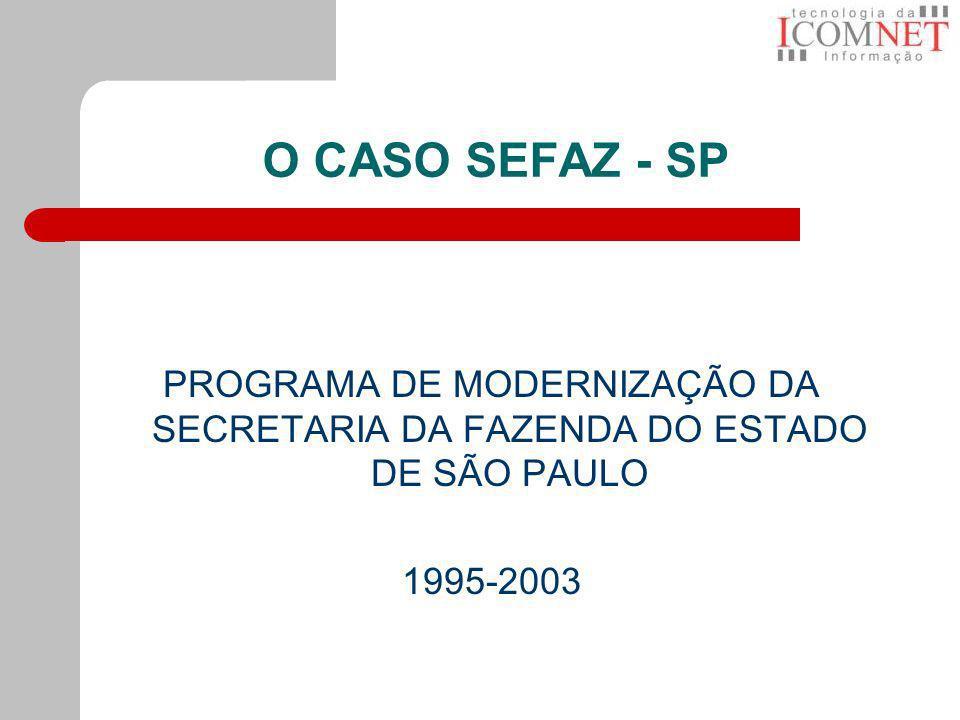 O CASO SEFAZ - SP PROGRAMA DE MODERNIZAÇÃO DA SECRETARIA DA FAZENDA DO ESTADO DE SÃO PAULO.