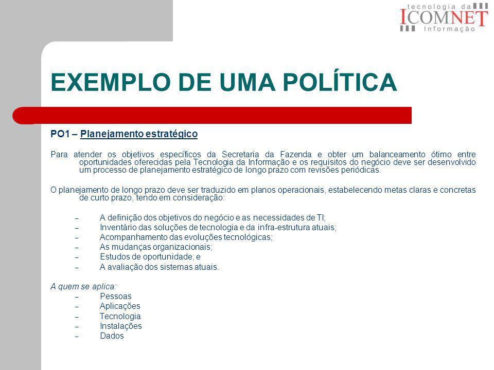 EXEMPLO DE UMA POLÍTICA