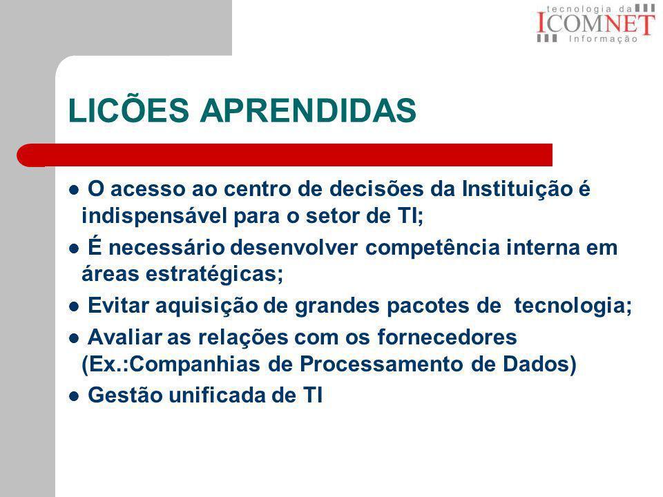 LICÕES APRENDIDAS O acesso ao centro de decisões da Instituição é indispensável para o setor de TI;