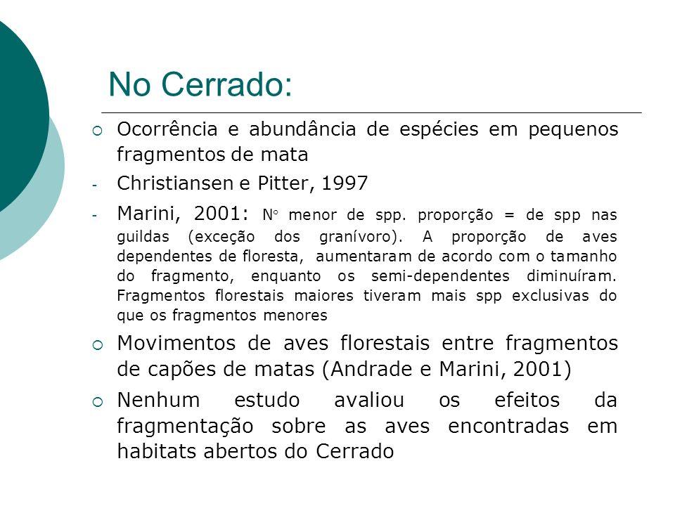 No Cerrado: Ocorrência e abundância de espécies em pequenos fragmentos de mata. Christiansen e Pitter, 1997.