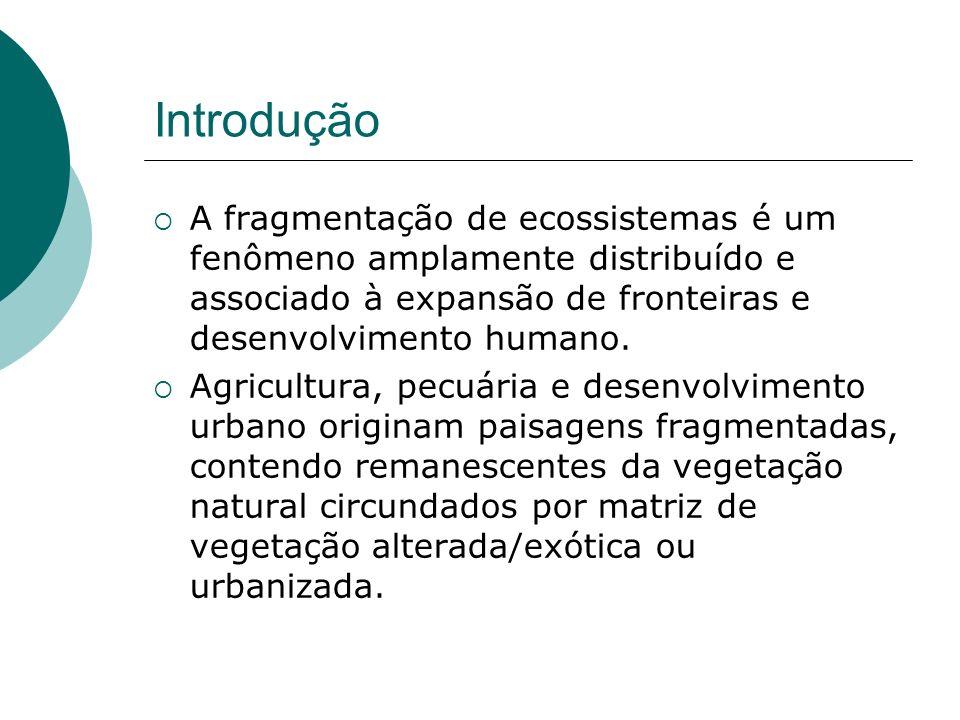 Introdução A fragmentação de ecossistemas é um fenômeno amplamente distribuído e associado à expansão de fronteiras e desenvolvimento humano.