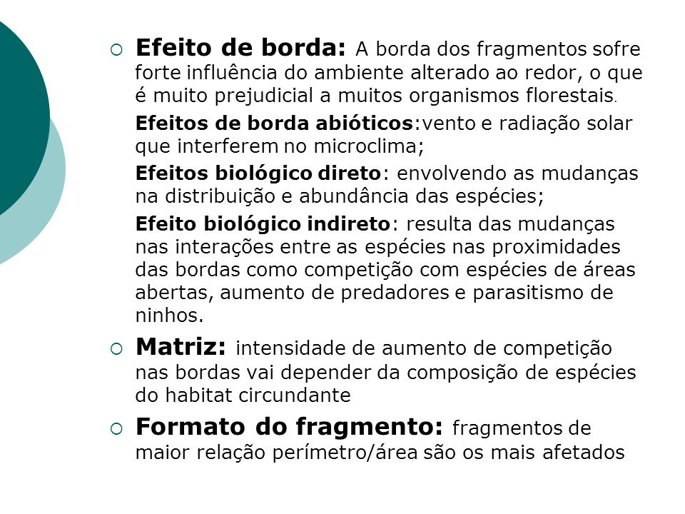 Efeito de borda: A borda dos fragmentos sofre forte influência do ambiente alterado ao redor, o que é muito prejudicial a muitos organismos florestais.