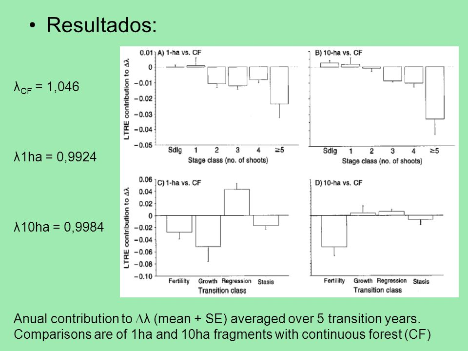 Resultados: λCF = 1,046 λ1ha = 0,9924 λ10ha = 0,9984
