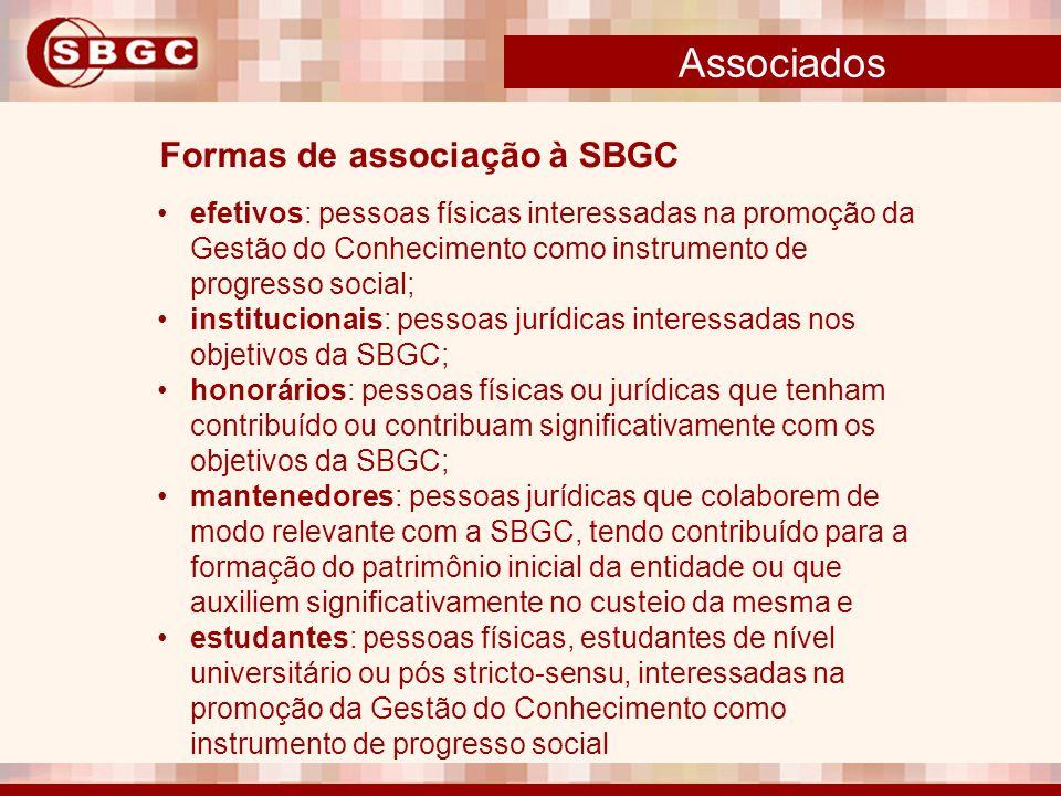 Associados Formas de associação à SBGC