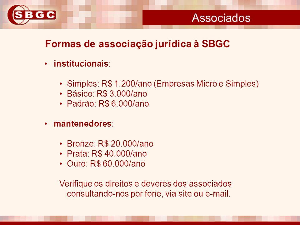 Associados Formas de associação jurídica à SBGC institucionais: