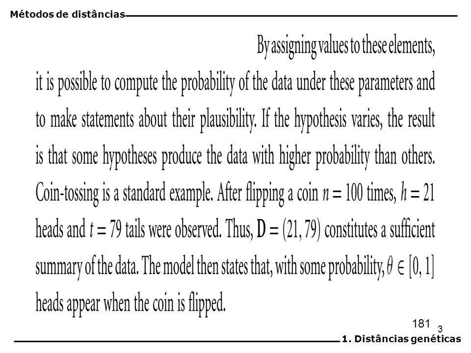 Métodos de distâncias 1. Distâncias genéticas 181