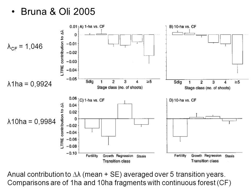 Bruna & Oli 2005 λCF = 1,046 λ1ha = 0,9924 λ10ha = 0,9984