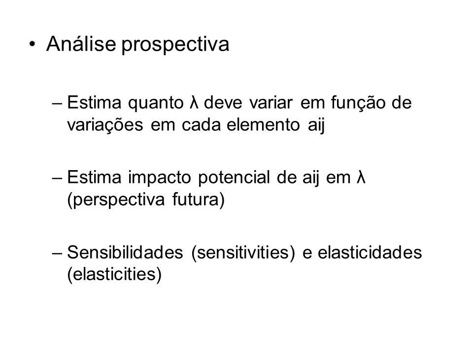 Análise prospectiva Estima quanto λ deve variar em função de variações em cada elemento aij.