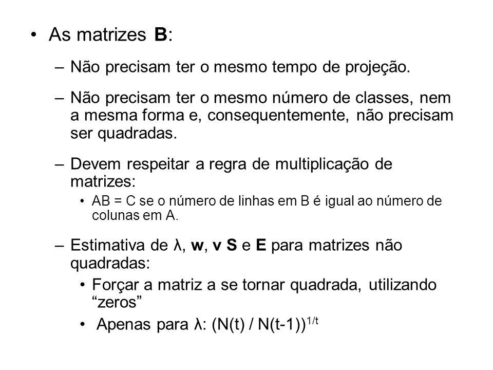 As matrizes B: Não precisam ter o mesmo tempo de projeção.