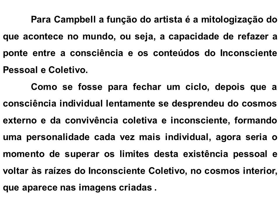 Para Campbell a função do artista é a mitologização do que acontece no mundo, ou seja, a capacidade de refazer a ponte entre a consciência e os conteúdos do Inconsciente Pessoal e Coletivo.