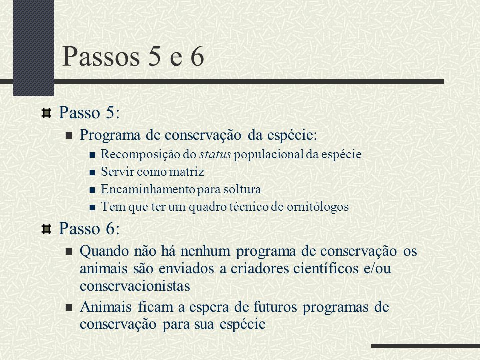 Passos 5 e 6 Passo 5: Passo 6: Programa de conservação da espécie: